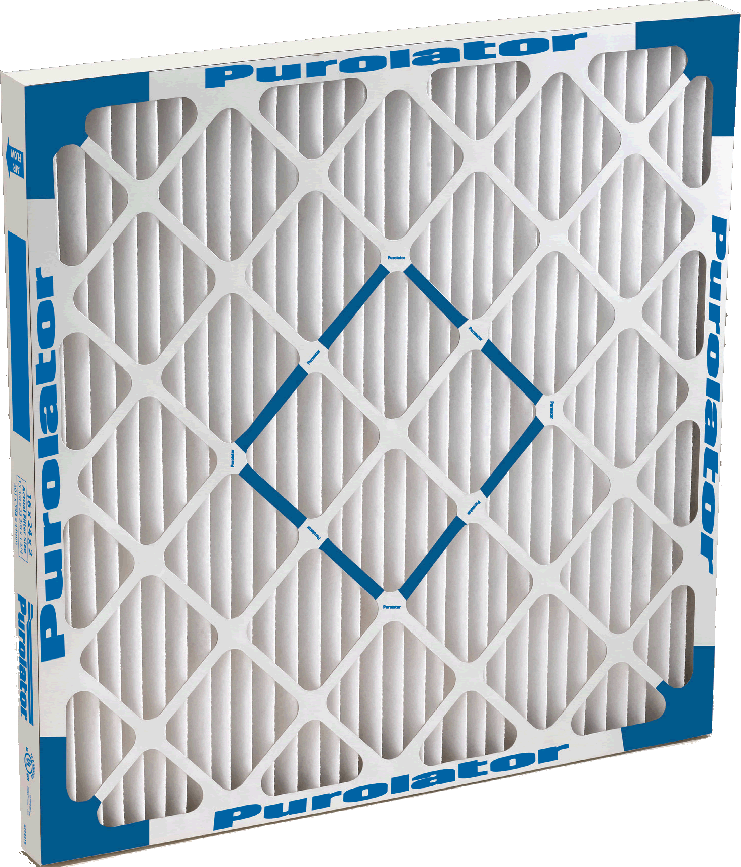 A Purolator Defiant Mark 80-D extended surface, pleated air filter shown in size 16 x 24 x 2.