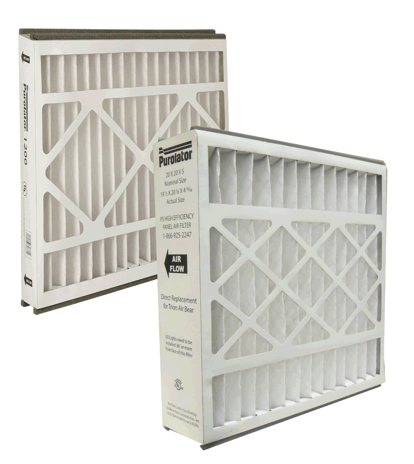 Two Purolator P5/2000 Replacement Air Filters designed for Trion Air Bear systems.