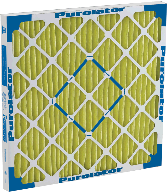 A Purolator PAF11 medium-efficiency, extended surface, MERV 11, pleated air filter.