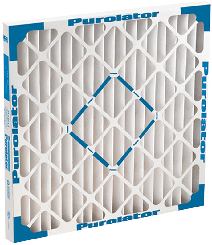 A Purolator Hi-e 40 medium efficiency, pleated air filter shown in size 20 X 20 X 1.